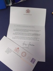 Achahoish LETTER FROM THE QUEEN 1