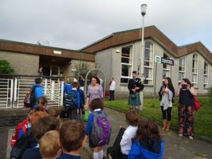 Kilcreggan marching into school 3