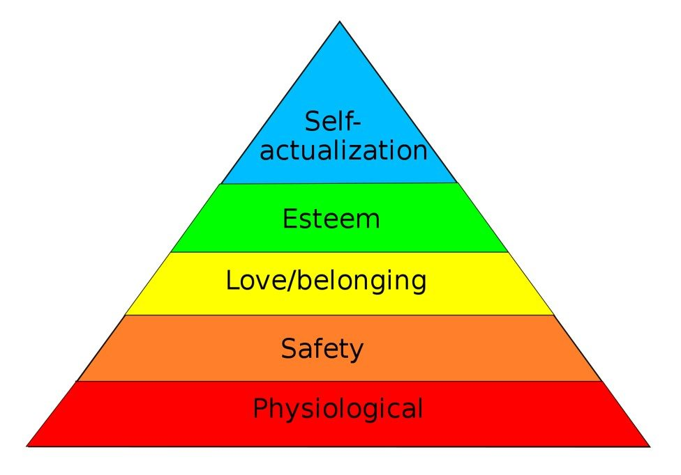 Self actualization, esteem, love/belonging, safety and physiological