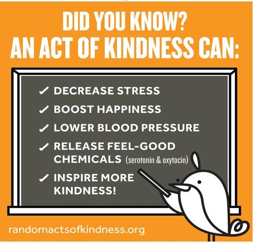 Did you know? An act of kindness can decrease stress, boost happiness, lower blood pressure, release feel-good chemicals, inspire more kindness