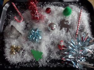 Our trays were full of lots of Christmas things all made of different materials.