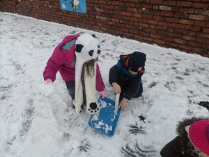 The children used rulers to measure their snowmen - making sure they were 30cm tall!