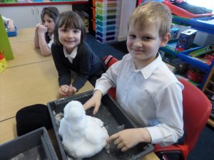The snowmen that we left outside lasted the longest. Just as we had predicted!