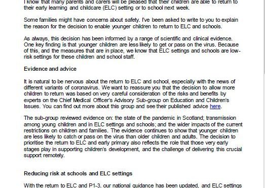 Return of P1-3 and ELC children – Letter from National Clinical Director