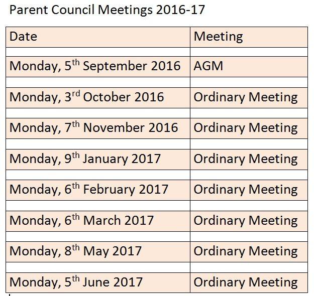 Parent Council Meetings 2016-17