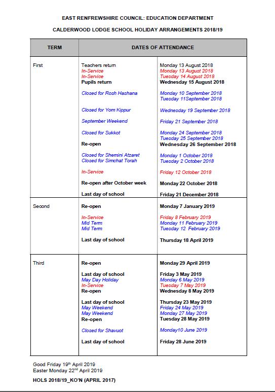 School Holidays 2018-2019