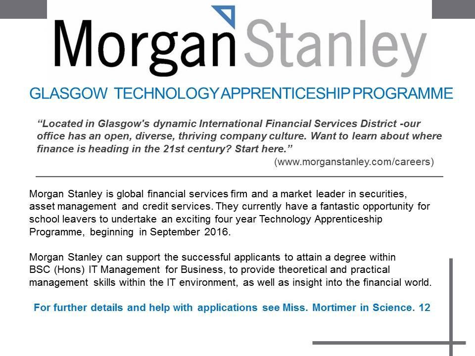 Morgan Stanley Glasgow Technology Apprenticeship Programme