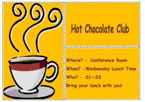 Hot Chocolate Club Poster 9.9.16
