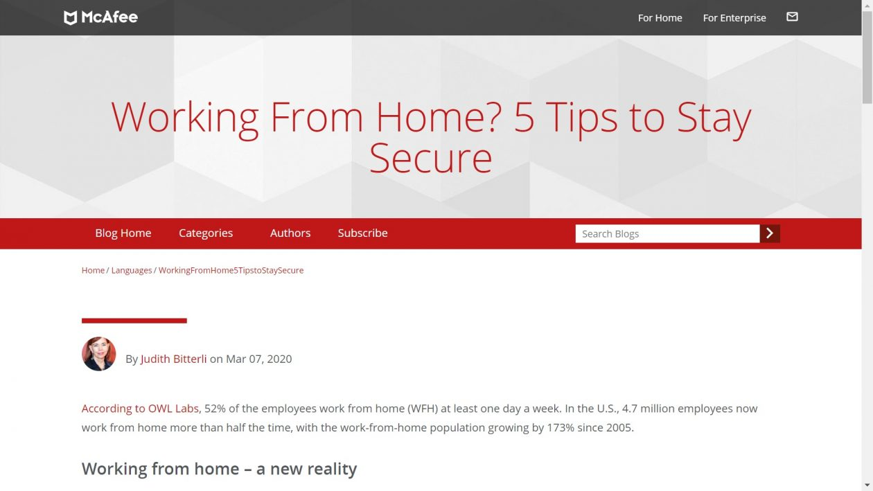 McAfee: Working From Home? 5 Tips to Stay Secure