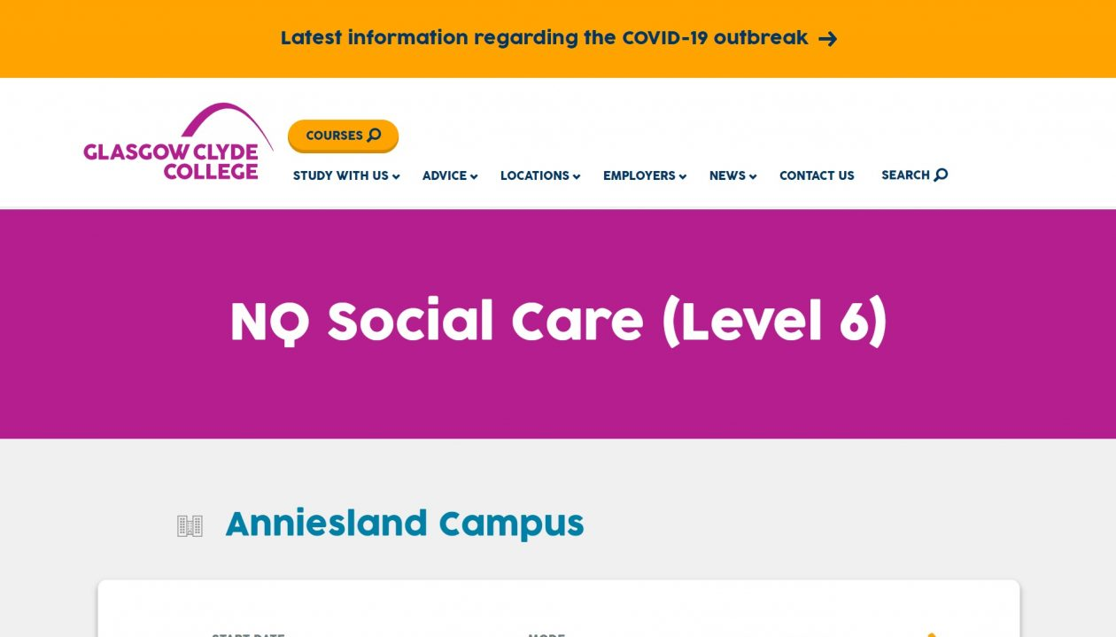 Glasgow Clyde College NQ Social Care Level 6