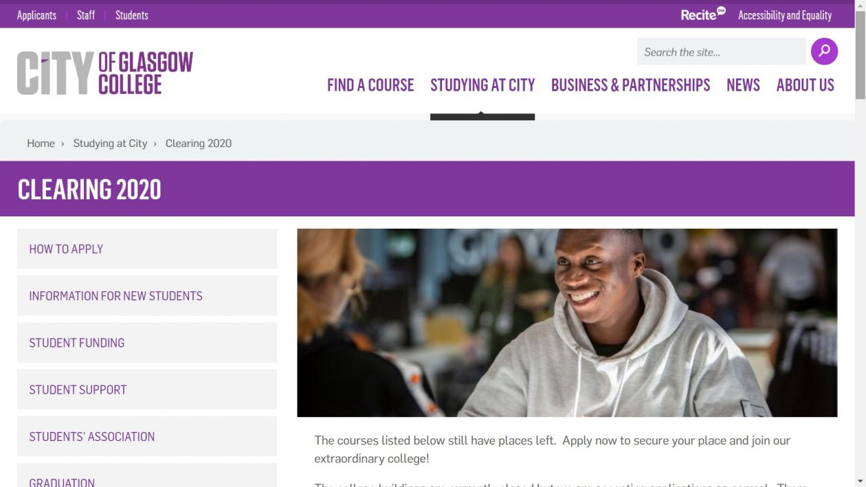 City of Glasgow College Clearing 2020
