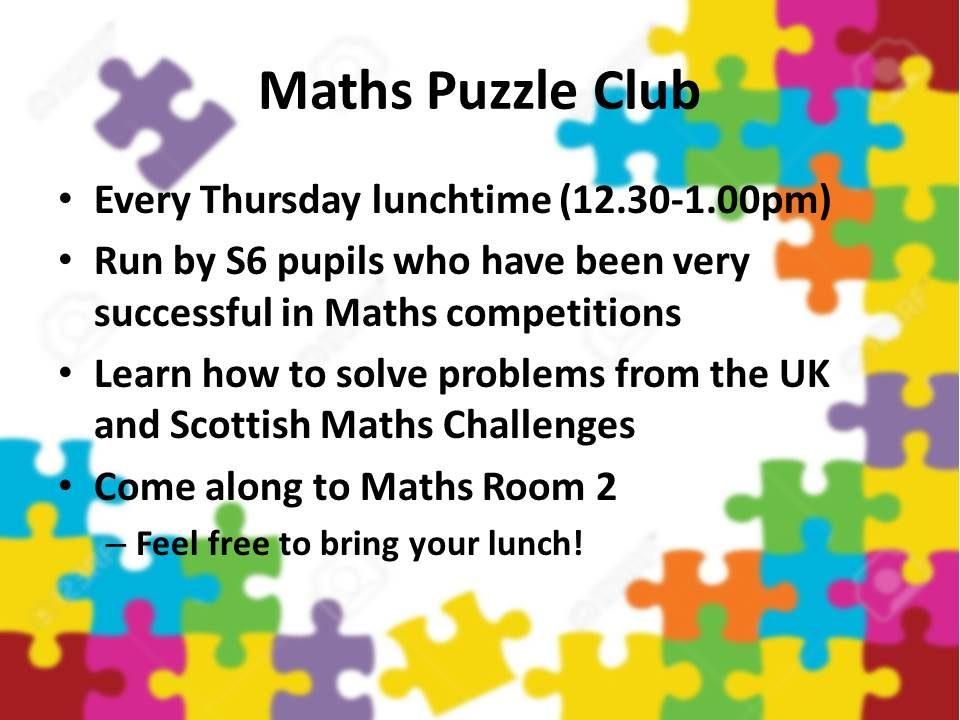 Maths Puzzle Club St Ninian S High School S2 Website