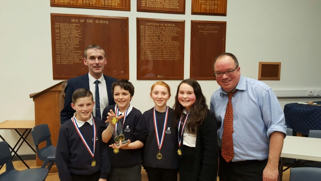 Our winning team with Mr Maclennan and Mr Woods who organised the quiz.
