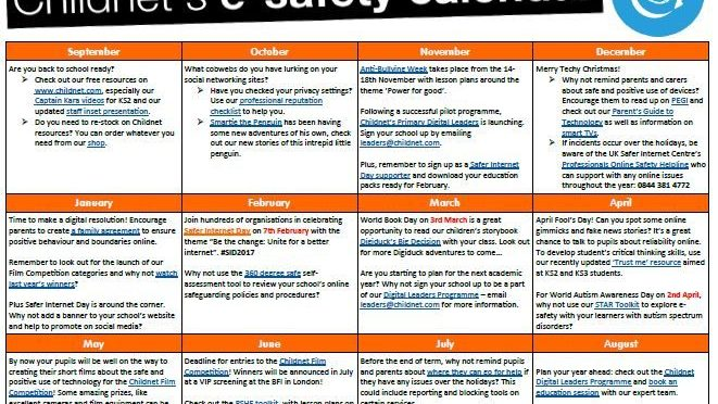 E-Safety Calendar for 2016-2017 for Schools
