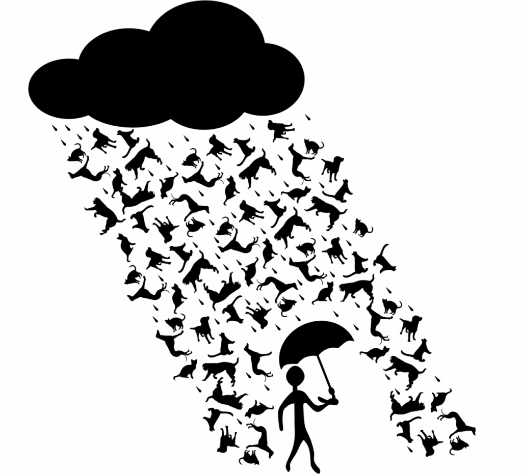 Image of cloud over a human figure with an umbrella walking in a rain of cats and dogs