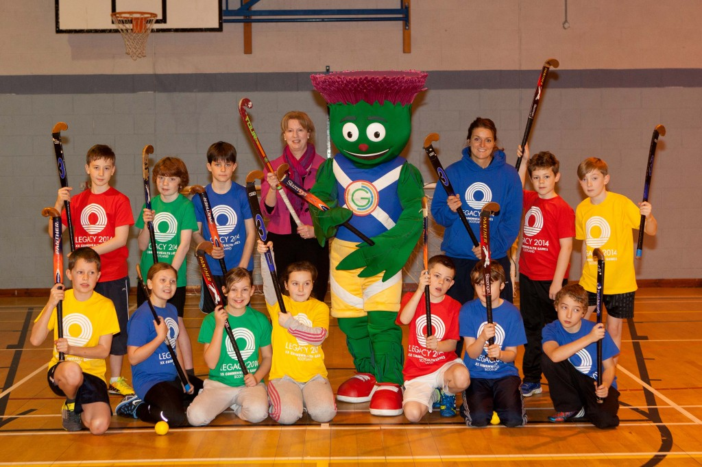 Holly with Shona Robison, Clyde and Comely Park pupils