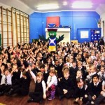 Busby Primary pupils with Clyde