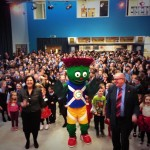 St Fillan's Primary pupils with Clyde and Cllr Graham