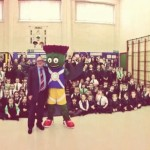 St Joachim's pupils with Clyde and Cllr Graham