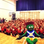 Blackwood Primary pupils with Clyde