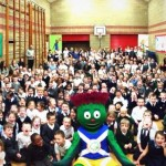Mossvale Primary and St James's Primary pupils with Clyde