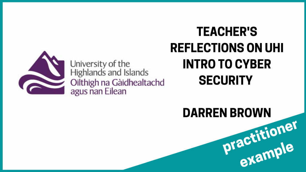 uhi cyber course reflections