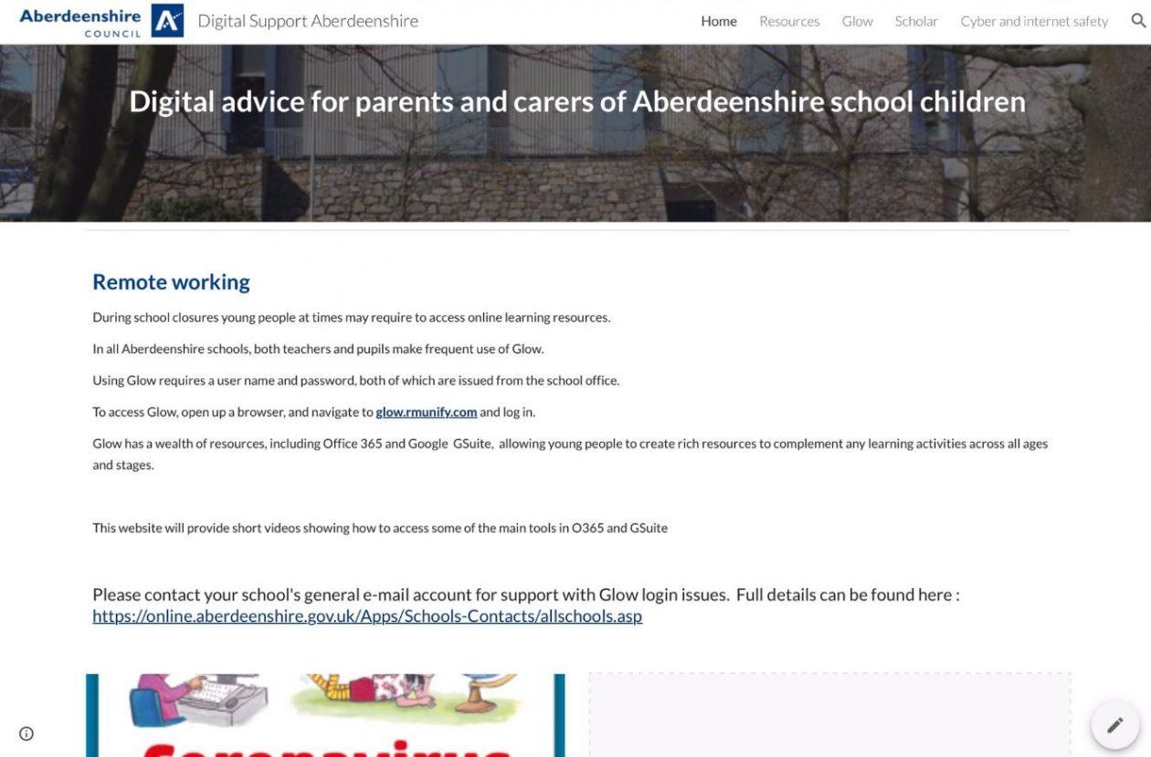 screenshot of aberdeenshire digital support webpage