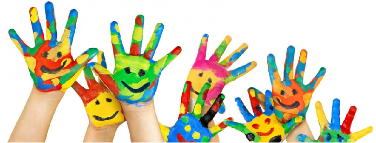 raised and painted hands of children