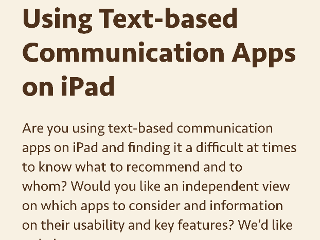 screenshot from CALL Scotland page on text based communication with ipad
