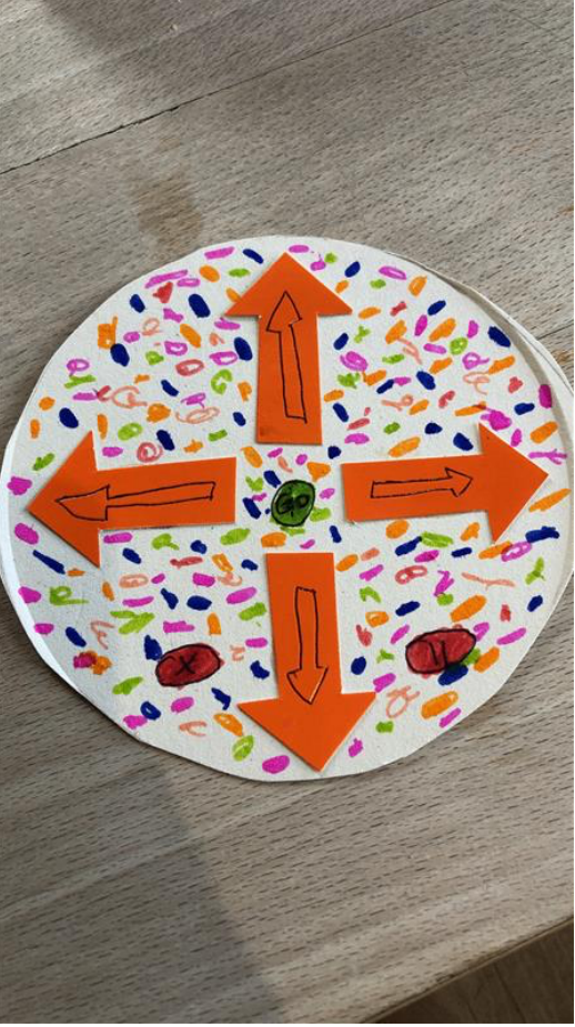 bee bit made with paper plate and had decorated with arrows