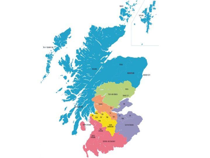 Scotland map split into 6 regions