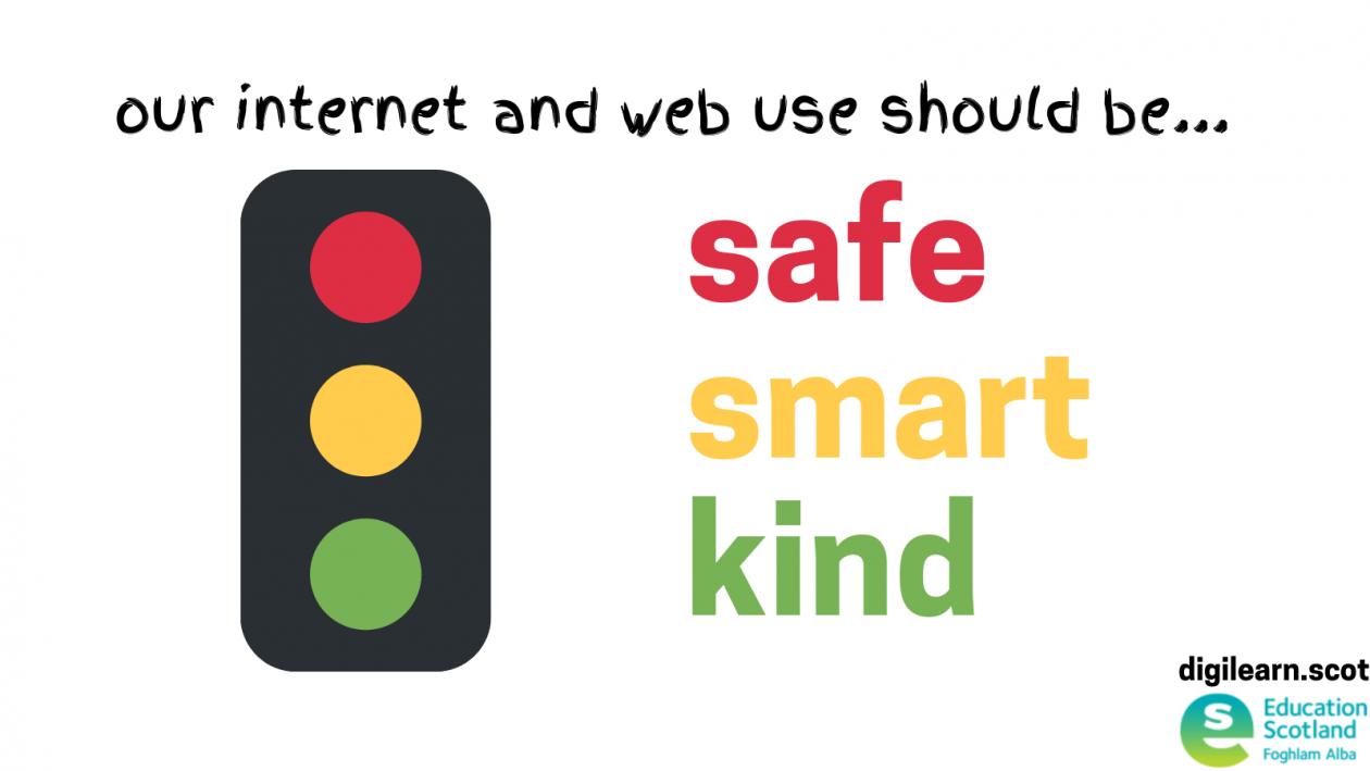 traffic light graphic for safe smart kind internet use
