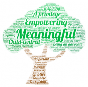 Visual word cloud in tree shape highlighting views of EPs on working with care experienced children and young people