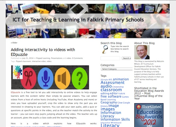 Screenshot of ICT for Teaching & Learning in Falkirk Primary Schools