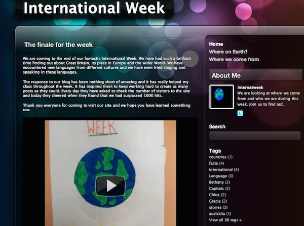 Screenshot of Blog for International Week