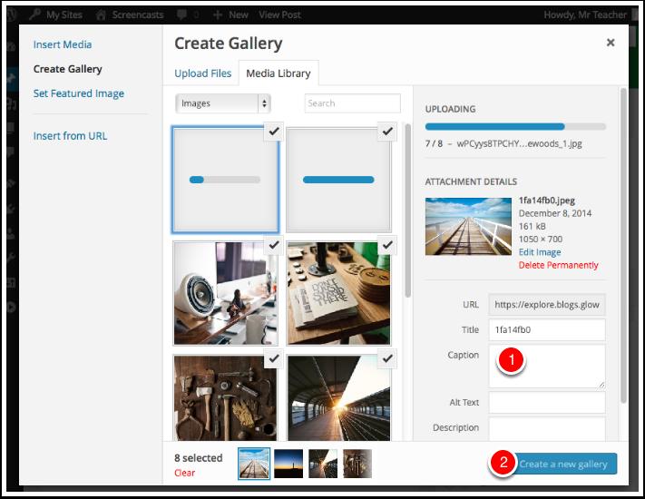 Screenshot Create a New Gallery