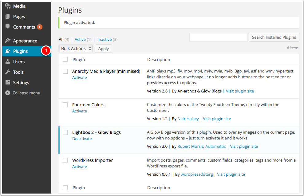 Screenshot: Manage plugins settings