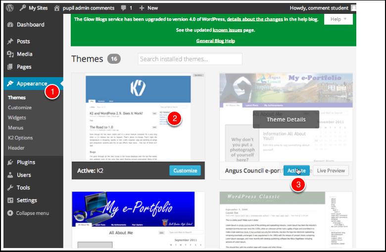Screenshot Managing Themes in Dashboard