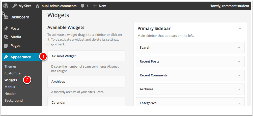 Widgets Dashboard