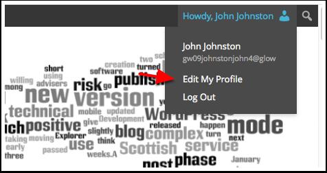 Screenshot: Admin bar Edit My Profile