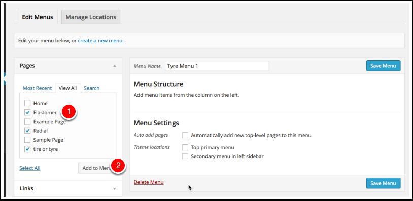 Screenshot adding items to menus