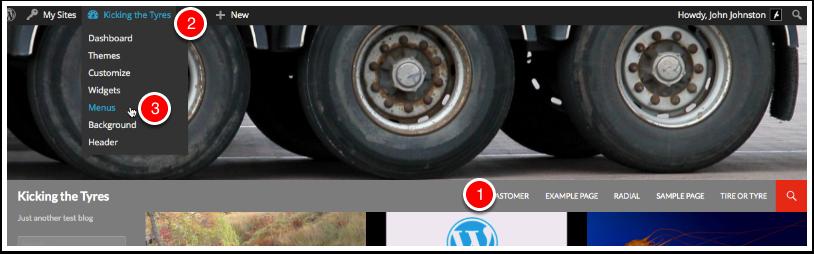 Screenshot Menus and Admin bar with Edit Link