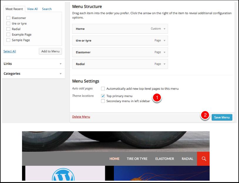 Screenshot menu structure and Locationmenu-structure