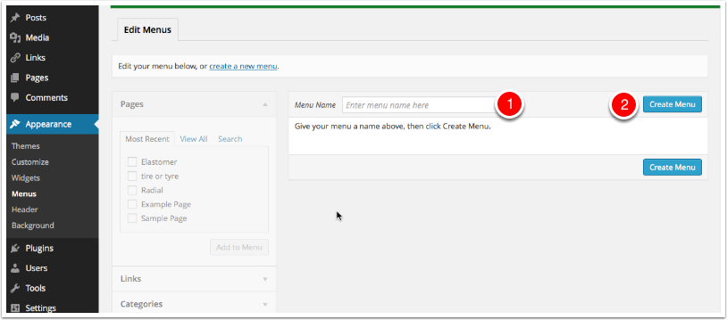 Screenshot: Dashboard Create a menu