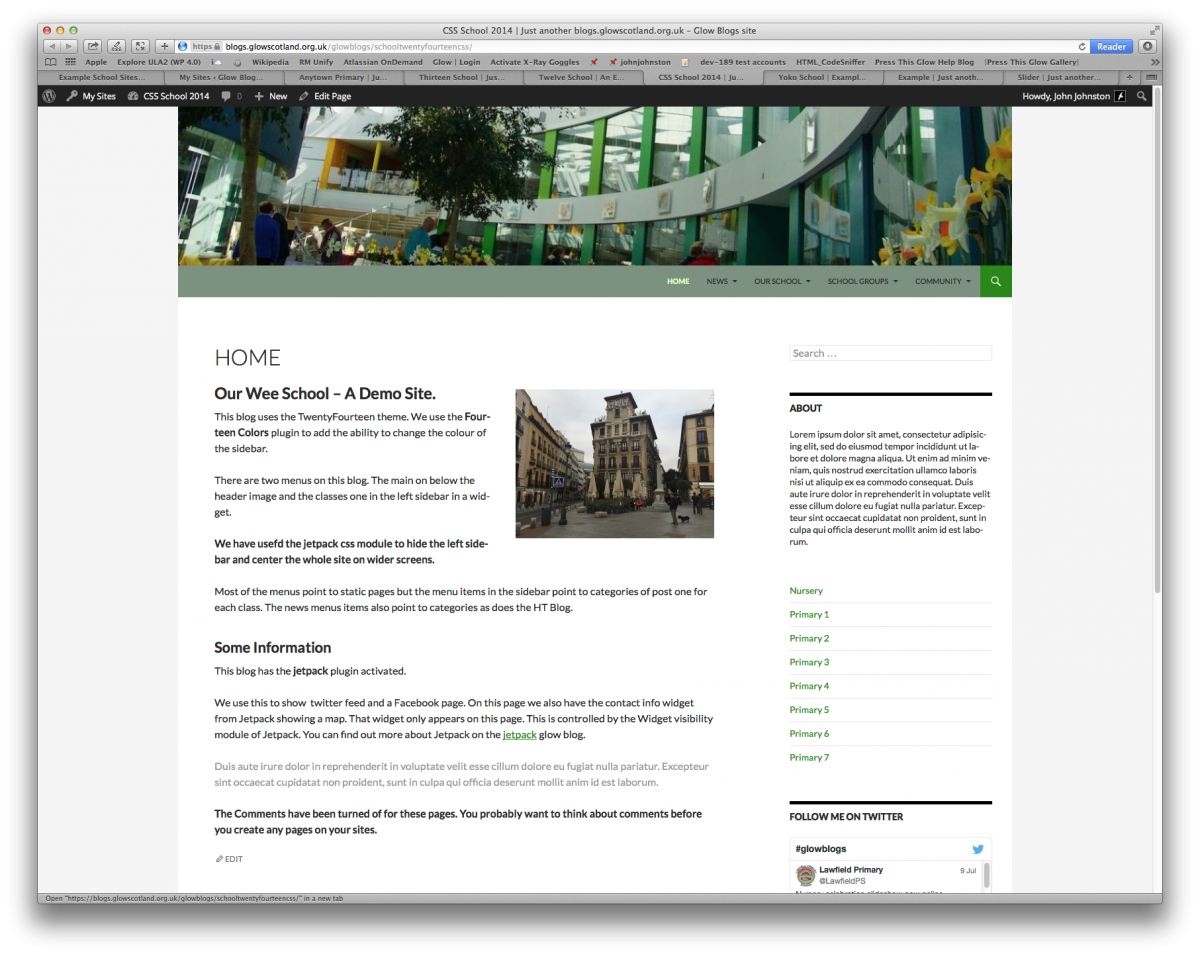Screenshot of example School Website