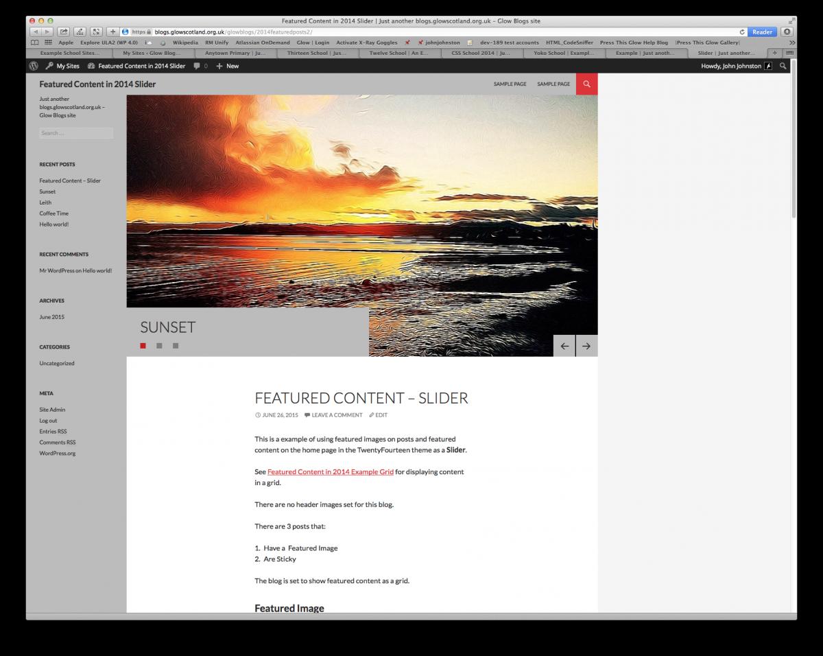Screenshot of TwentyFourteen theme with featured content