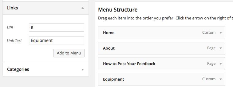 Screenshot adding equipment menu