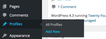 New Profile  on Dashboard sidebar menu