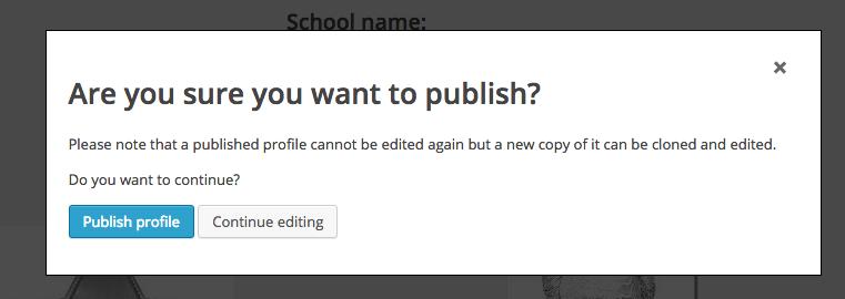 Screen Shot Publish conformation Dialog