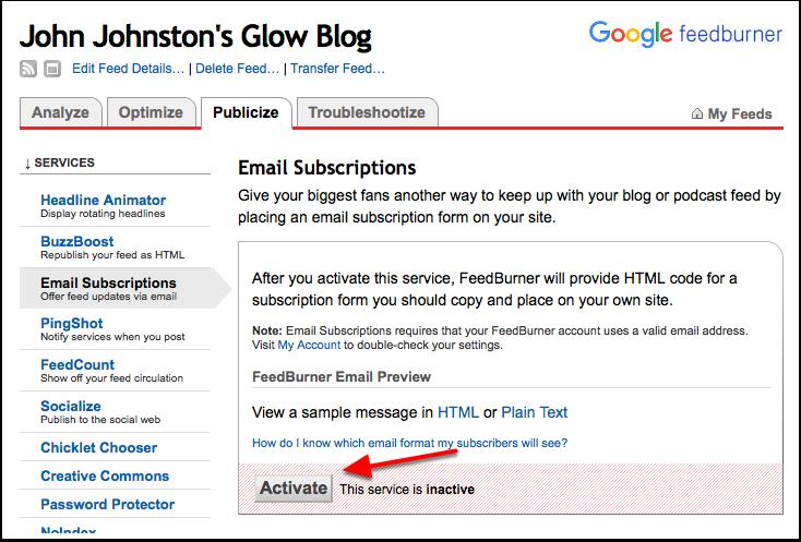 Screenshot Feedburner, Activate email subscription